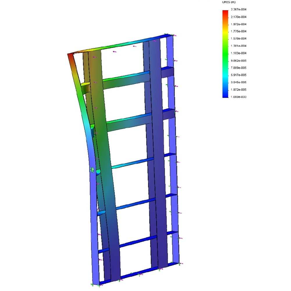 28_Numerical model of inner steel door structure whilst under a static load