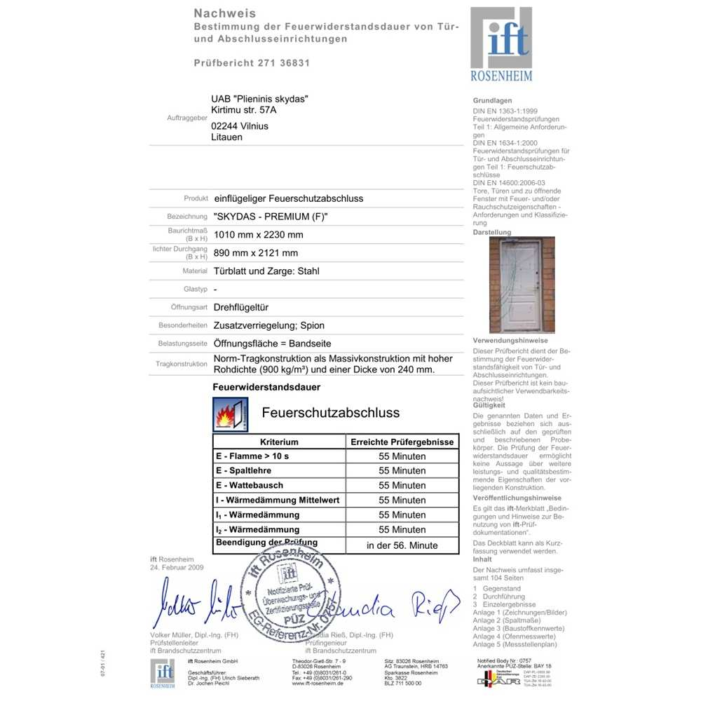 23_Official evidence of performance of Skydas Premium door - fire resistance EI45
