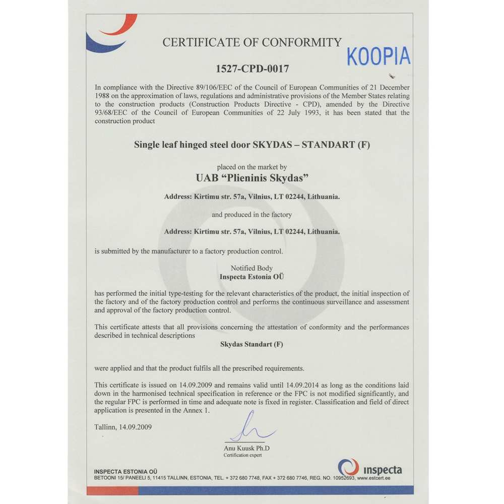 25_Certificate of conformity of single leaf hinged steel door Skydas Standart 3