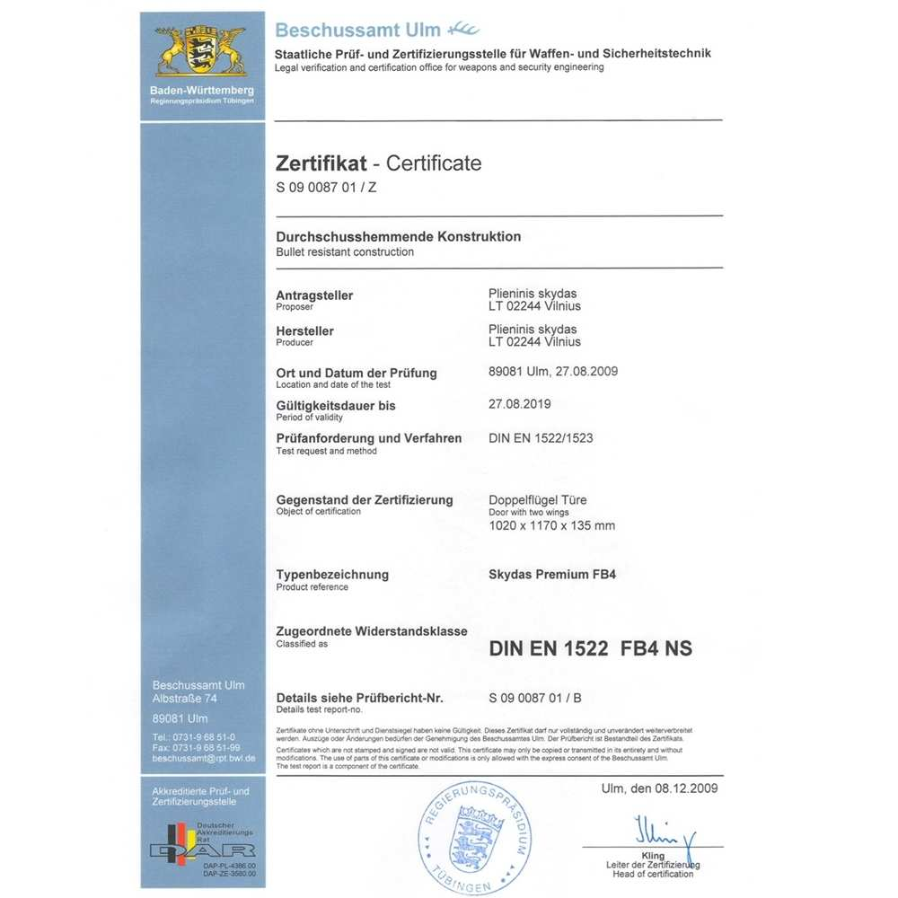 03_Certificate of bullet resistance double leaf door